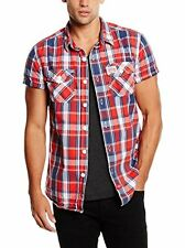 Mens Superdry Short Sleeve Washbasket Shirt in Surfside Red Check