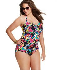 NWT Anne Cole Floral Ruched Bandeau Halter One-Piece Swimsuit Plus Size 20W-24W