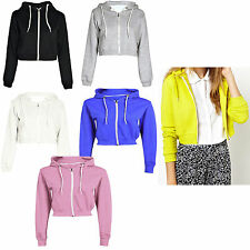Womens PLAIN CROP HOODIE Zipper Sweatshirt ZIP Cosy Hoody Dance Ladies Girls New