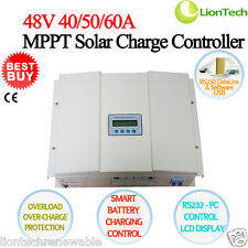 40/50/60A 48V MPPT Solar Panel Charge Controller Regulator LCD RS232