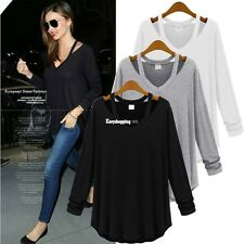 Stylish Women Long Sleeve V-Neck Casual Loose Cotton Blend T-Shirt Blouse ES9P
