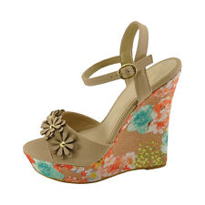 Bamboo Pompey 77 Women's Nude Multi Floral Platform Wedge Sandals