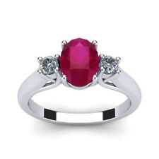 14K ROSE GOLD 3/4 CARAT OVAL SHAPE GENUINE RUBY AND TWO DIAMOND RING