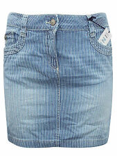 Womens Ladies M&S Marks and Spencer Blue Striped Cotton Denim Skirt 10 14 16