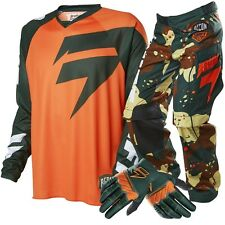 Shift NEW 2016 Mx Recon Camo Orange Motocross Dirt Bike Off Road Gloves Gear Set
