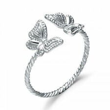 925 Sterling Silver Open Cuff Size Adjustable Butterfly Ring, Size 5-9