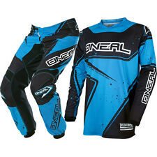 Oneal 2017 NEW Mx Element Jersey Pants Adult Black Cyan Blue Motocross Gear Set