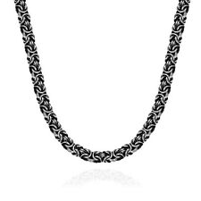 7mm Mens Boys Chain Black Silver Tone Stainless Steel Twist Curb Link Necklace