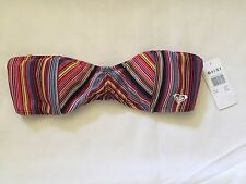 NEW Roxy Wild Escape Paneled Bandeau Bikini Top 621200 Multi-Color Striped Large