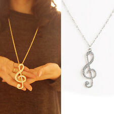 1pc Unique Women Charming Alloy Rhinestone Crystal Music Note Pendant Necklace
