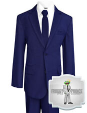 Boys Kids Handsome Navy Solid Suit Made with Polyester w/ Tie Shirt Vest Pants