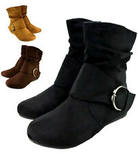 Womens Short Wrinkle Slouch Ankle Boots Flat Heel Suede Booties with Side Zipper