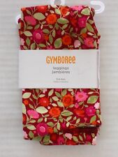 GYMBOREE Girl's Butterfly Girl Cranberry Floral Leggings Size 3-6 Months
