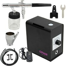 OPHIR Mini Air Dual Action Airbrush Compressor Kit for Cake Decoration 0.35mm