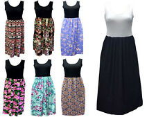 Womens Ladies Racer Back Long Maxi Dress Floral Printed Sleeveless Size 8-26