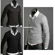 Men Casual Pullover Solid Slim Fit Tops Korean V-neck Jumper Cardigan Knitted