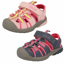 GIRLS CLARKS BEACH TIDE CASUAL RIPTAPE STRAP CLOSED TOE SANDALS SUMMER SHOES