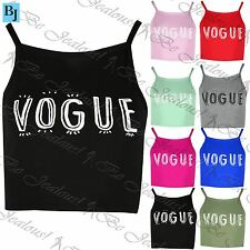 Ladies Camisole Strappy Tank Womens Vest VOGUE Print Crop Top Plus Size