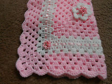 HAND CROCHET DOLLS BLANKET COVER PINK AND WHITE 15