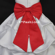 RED TIE BOW SASH FOR WEDDING PAGEANT FLOWER GIRL DRESS sz S M L 2 4 6 8 10 12 14