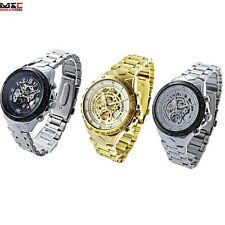 Mens Steampunk Skeleton Automatic Stainless Steel Sport Mechanical Wrist Watch