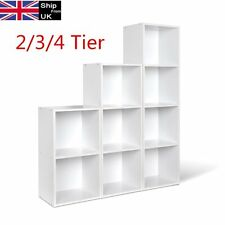New 2/3/4 Tier Wooden Bookcase Shelving Display Shelves Storage Unit Shelf White