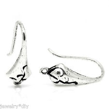 Wholesale JD Ear Wire Hooks Earring Findings Pattern Carved Silver Tone 18x10mm