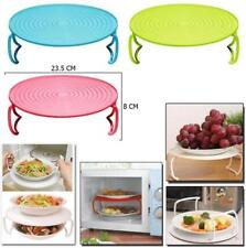 Double Layer Bowl Rack Holder Cover Dish Microwave Oven Steam Tray Round Plate