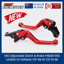 CNC Adjustable  Clutch & Brake FINGER RED LEVERS Fit YAMAHA YZF-R6 R1 YZF R1 R6