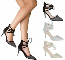 Womens Diamante High Heel Stiletto Lace Up Wedding Bridal Party Evening Shoes