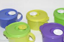 Tupperware Crystalwave Microwave Safe 2 cup Soup Mug Flip Cap Steam Vent Colors