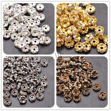100Pcs GOLD /SILVER/ BRONZE, Czech Crystal Rhinestone Wavy Rondelle Spacer Beads