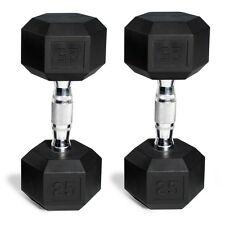 CAP Barbell Rubber Coated Hex Dumbbells Set of 2 Black Pair Weights Iron Gym New