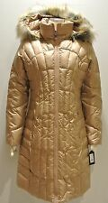 Guess coat down maxi puffer hooded faux fur trim beige $299 пуховик пальто OBO