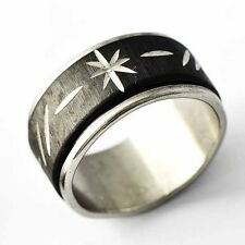 Mens/Womens Black Stainless Steel Carved Flower Band Ring Wholesale Jewelry