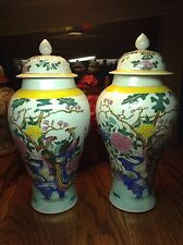 PAIR TALL YELLOW FFAMILLE ROSE CHINESE HAND PAINTED PORCELAIN JARS / VASES