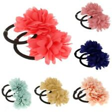 2Pcs Elastic Flower Hair Band Ponios Bobbles for Girls Baby All Colours