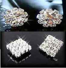 SILVER TONE SQUARE OR ROUND FLOWER DIAMANTE RHINESTONE CRYSTAL STUD EARRINGS