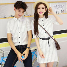 7552 New Men Women's White Striped Blouse Couples Shirts Lovers T-shirt Dress