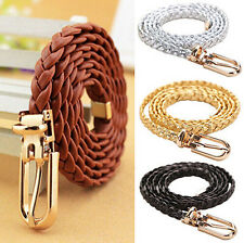 PU Leather Womens Braided Waistband Waist Belt Buckle Strap Narrow Thin Vivid