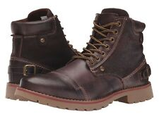 STEVE MADDEN men's CLAYTIN BOOTS Cap Toe Lace-Up Ankle Work Boot BROWN size 10