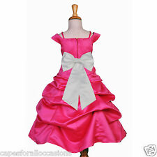 FUCHSIA SPAGHETTI STRAP WEDDING PAGEANT FLOWER GIRL DRESS CAP SLEEVE BRIDAL 844