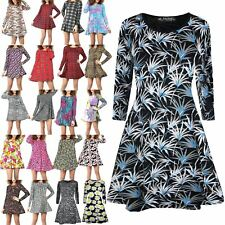 Womens Ladies Flared Long Sleeve Printed Shift Skater Top Mini Swing Dress
