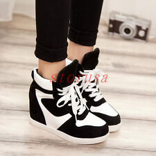 Womens Stylish Skate Shoes High Top Hidden Wedge Heel Lace Up Sneakers Trainers