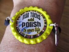 New NAIL TECH  Themed Bottlecap Bracelets with Charm-15 styles to choose from