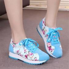 Korean Womens Sports Retro Flat Floral Athletic Running Lace Up Sneakers Shoes