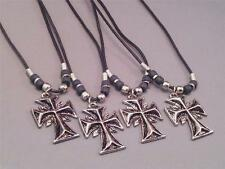 Christian Pendant Necklace GOTHIC Silver Tone Cross Black Cord Bead Accent Gift!