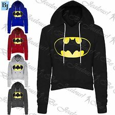 Womens Ladies Batman Fleece Crop Cropped Hoodie Hoody Sweater Sweatshirt Top