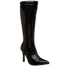 "Women's LUST-2001SQ 3 3/4"" Heel Sequins Costume Knee High Boot Pointy Toe"