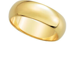 14K Yell. Gold, Half Round Wedding Band 6MM sz 4-15